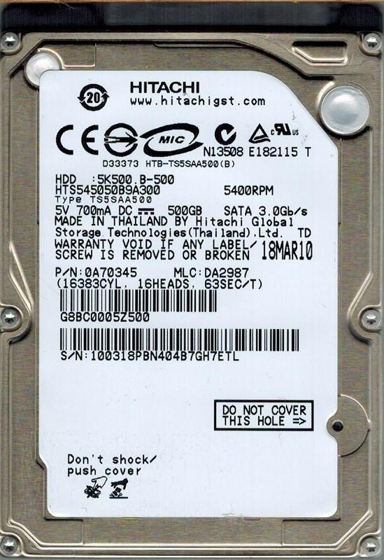 Hitachi HTS545050B9A300 P/N: 0A70345 MLC: DA2987 500GB