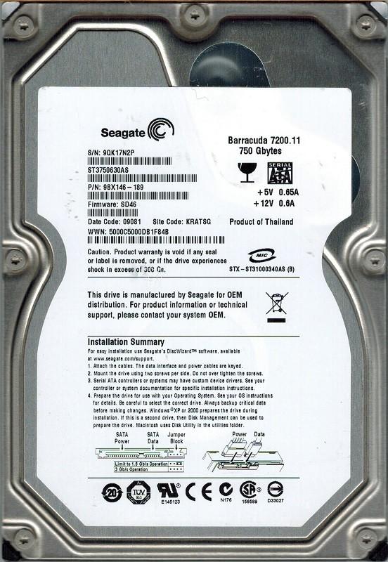 Seagate ST3750630AS P/N: 9BX146-189 F/W: SD46 750GB KRATSG