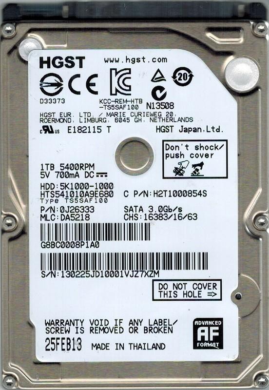 Hitachi HTS541010A9E680 P/N: 0J26333 MLC: DA5218 1TB