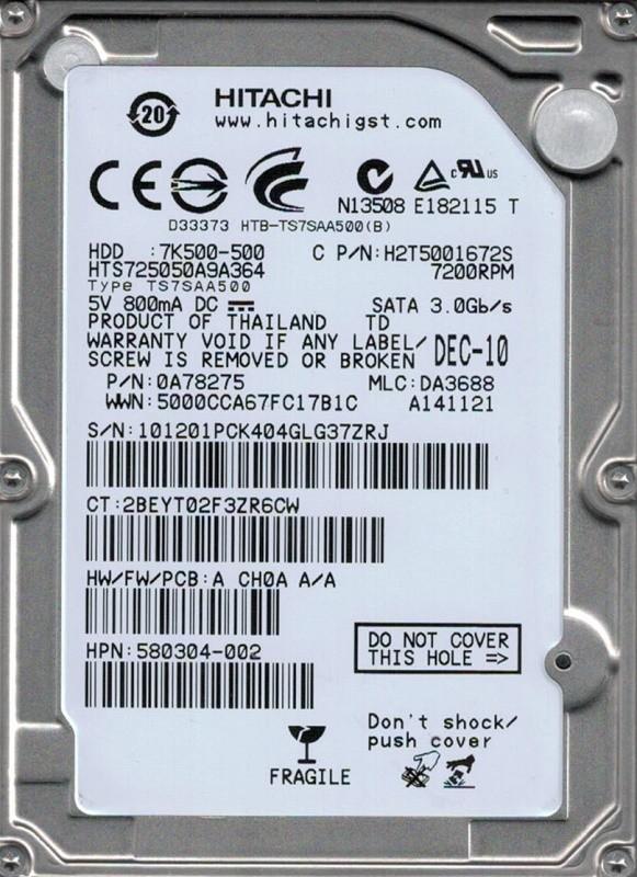 Hitachi HTS725050A9A364 P/N: 0A78275 MLC: DA3688 500GB