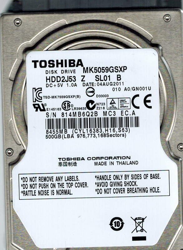 Toshiba MK5059GSXP 500GB HDD2J53 Z SL01 B THAILAND