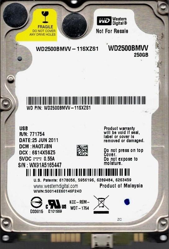 Western Digital WD2500BMVV-11SXZS1 250GB DCM: HAOTJBN
