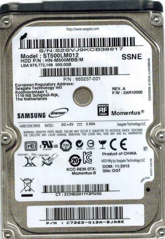 Samsung ST500LM012 HN-M500MBB/M 500GB Seagate