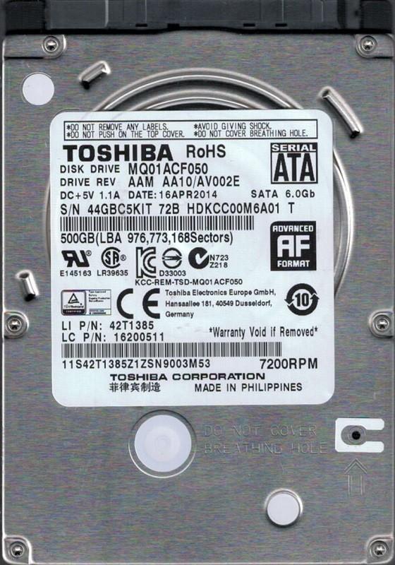 Toshiba MQ01ACF050 500GB AAM AA10/AV002E PHILIPPINES