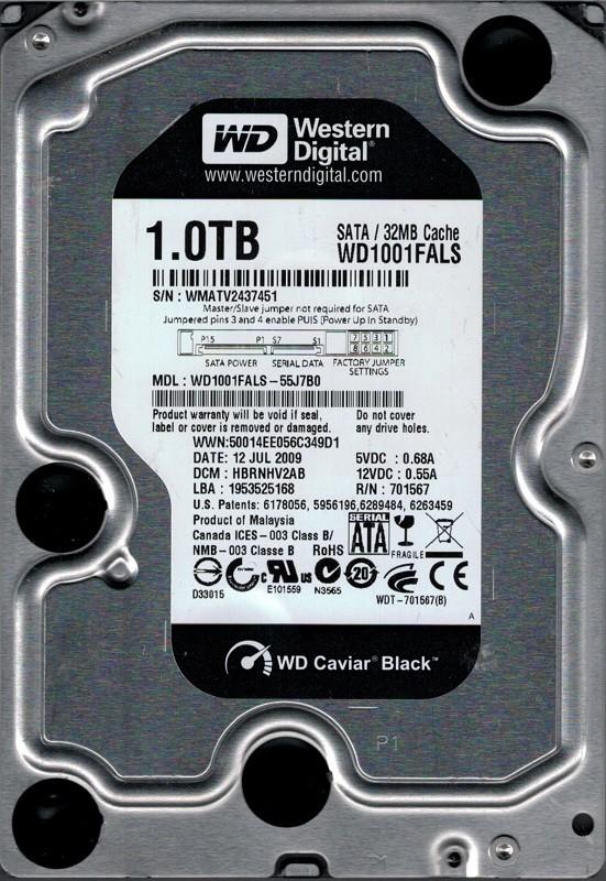 Western Digital WD1001FALS-55J7B0 1TB DCM: HBRNHV2AB WMATV