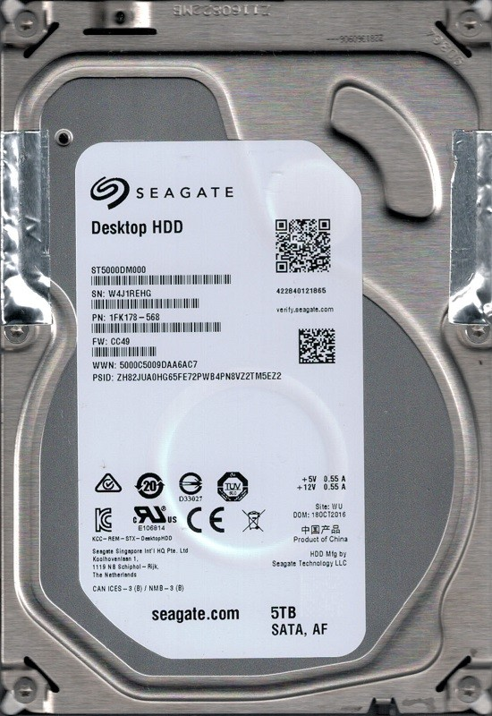 ST5000DM000 P/N: 1FK178-568 F/W: CC49 WU W4J Seagate 5TB Desktop Hard Drive
