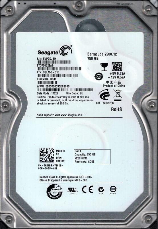 Seagate ST3750528AS 750GB P/N: 9SL153-516 F/W: CC46 SU