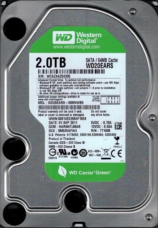 Western Digital WD20EARS-00MVWB0 DCM: HARNHTJMAB 2TB