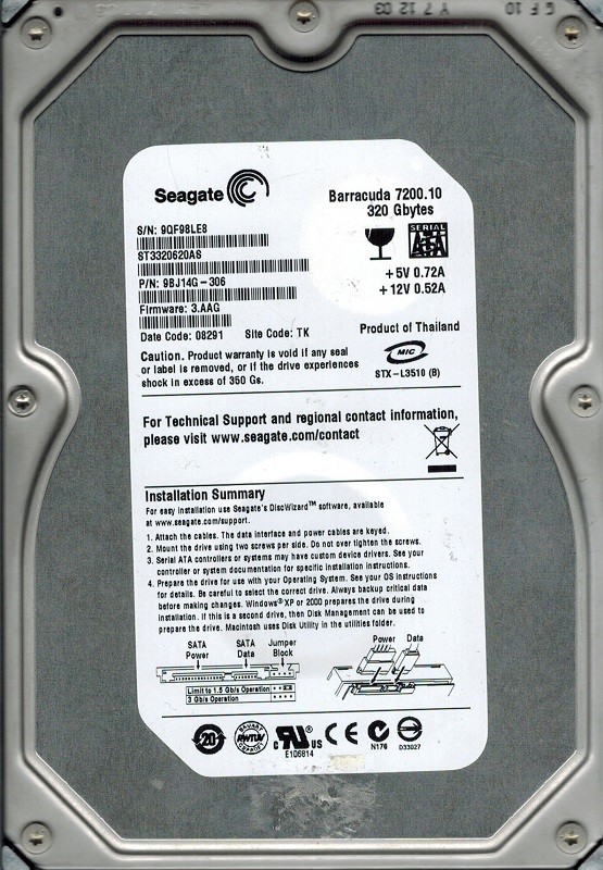 Seagate ST3320620AS 320GB P/N: 9BJ14G-306 F/W: 3.AAG TK