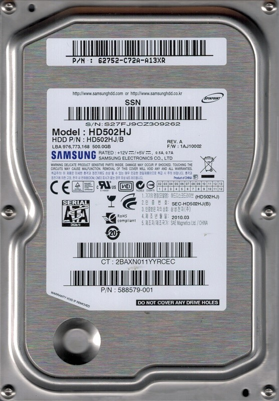 Samsung HD502HJ/B P/N: 62752-C72A-A13XR F/W: 1AJ10002 500GB