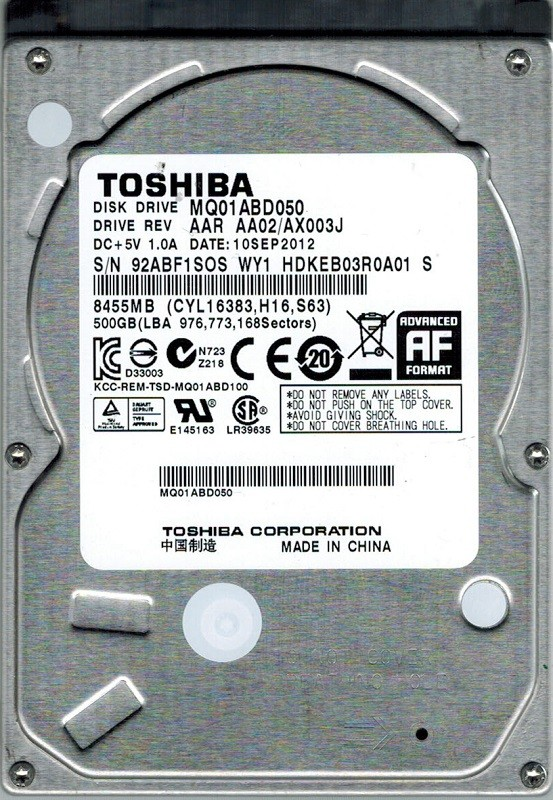 Toshiba MQ01ABD050 500GB AAR AA02/AX003J CHINA