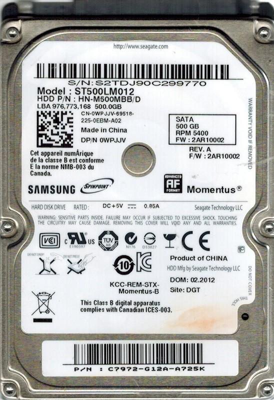 Samsung ST500LM012 HN-M500MBB/D P/N: C7972-G12A-A725K F/W: 2AR10002