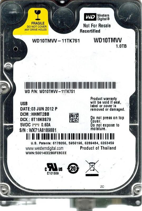 Western Digital WD10TMVV-11TK7S1 USB 2.0 1TB DCM: HHMT2BB