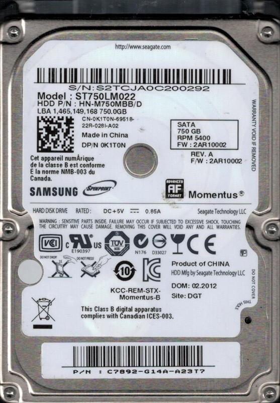Samsung ST750LM022 HN-M750MBB/D F/W: 2AR10002 750GB Seagate