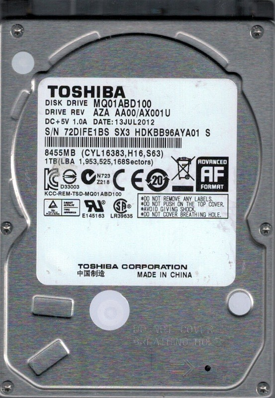 Toshiba MQ01ABD100 1TB AZA AA00/AX001U CHINA Laptop Hard Drive