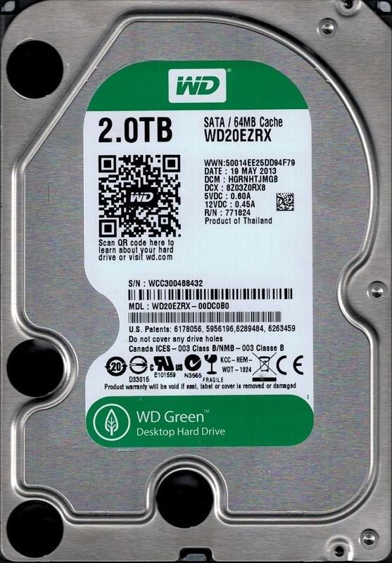 Western Digital WD20EZRX-00DC0B0 DCM: HGRNHTJMGB WCC30 2TB