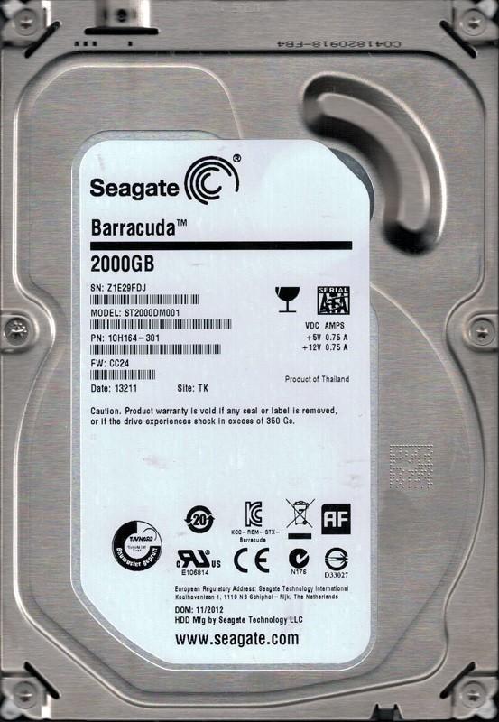 ST2000DM001 F/W: CC24 P/N: 1CH164-301 TK Z1E 2TB Seagate Desktop HDD