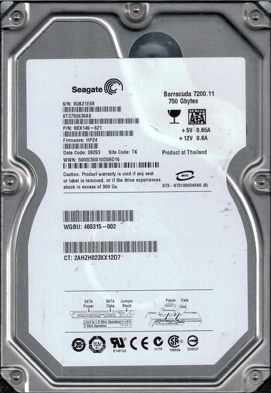 Seagate ST3750630AS P/N: 9BX146-621 F/W: HP24 TK 9QK 750GB