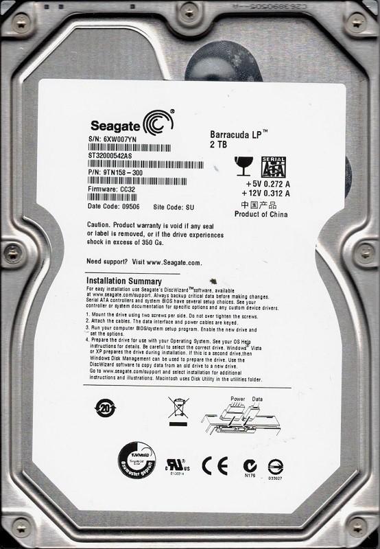 Seagate ST32000542AS P/N: 9TN158-300 F/W: CC32 SU 6XW 2TB