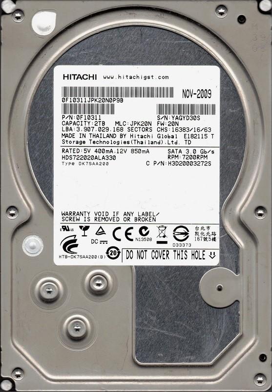 Hitachi HDS722020ALA330 P/N: 0F10311 MLC: JPK20N 2TB