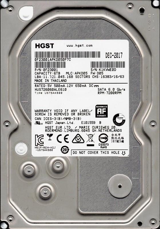 HUS726060ALE610 P/N: 0F23001 MLC: APKD05 Thailand 6TB HGST