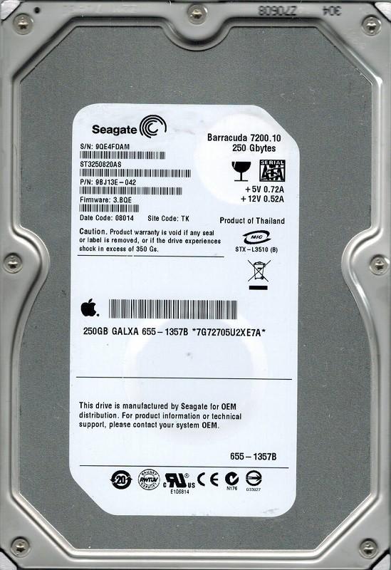 Seagate ST3250820AS P/N:9BJ13E-042 F/W: 3.BQE 250GB TK