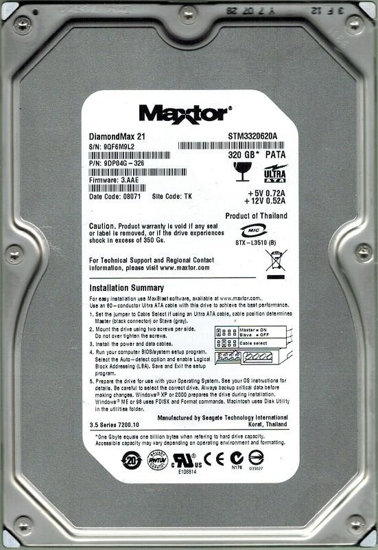 Maxtor STM3320620A 320GB P/N: 9DP04G-326 F/W: 3.AAE TK Seagate