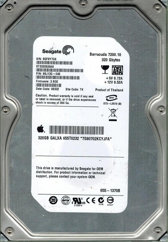 Seagate ST3320820AS MAC 320GB P/N: 9BJ13G-048 F/W: 3.BQE TK APPLE