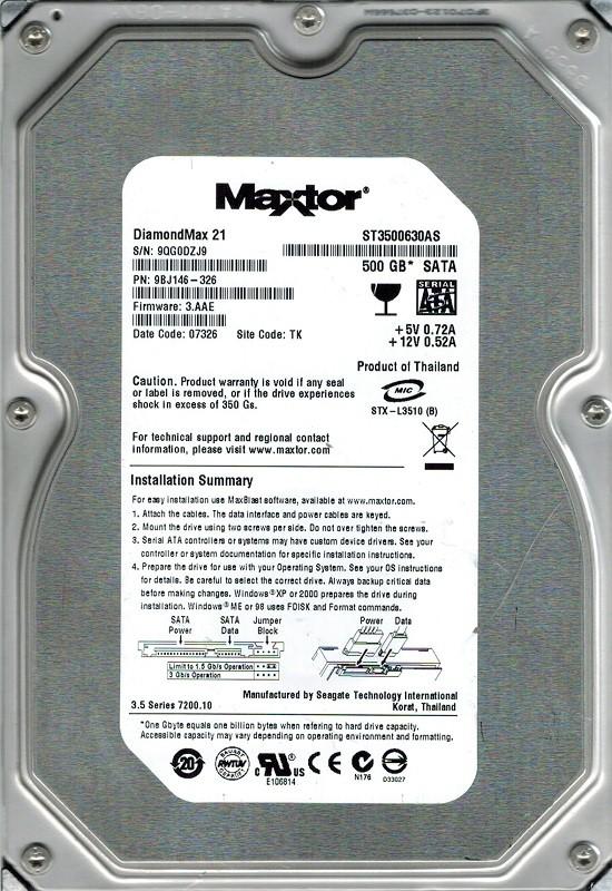 Maxtor ST3500630AS P/N: 9BJ146-326 500GB F/W: 3.AAE TK Seagate