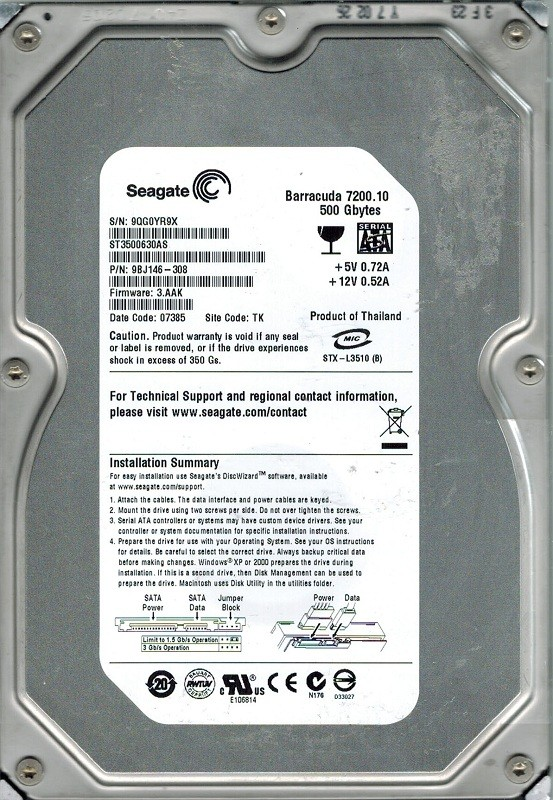 Seagate ST3500630AS P/N: 9BJ146-308 F/W: 3.AAK 500GB TK