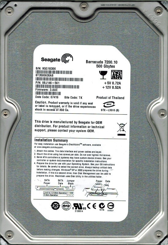Seagate ST3500630AS 500GB P/N: 9BJ146-561 F/W: 3.AAE TK