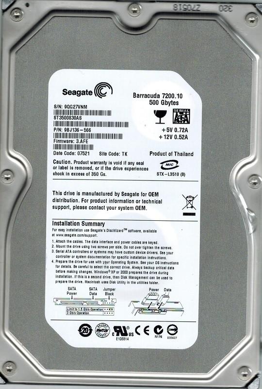 Seagate ST3500830AS P/N: 9BJ136-566 F/W: 3.AFE 500GB TK