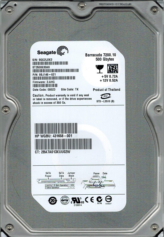 ST3500630AS Seagate F/W: 3.AHG P/N: 9BJ146-621 TK 500GB