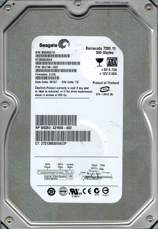 Seagate ST3500630AS P/N: 9BJ146-622 F/W: 3.CHL TK 500GB
