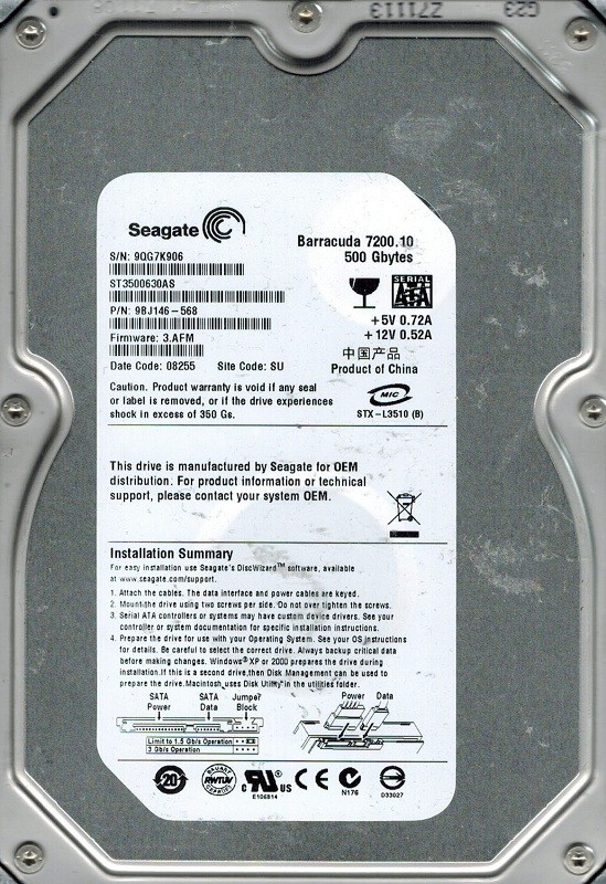 Seagate ST3500630AS P/N: 9BJ146-568 F/W: 3.AFM SU 500GB
