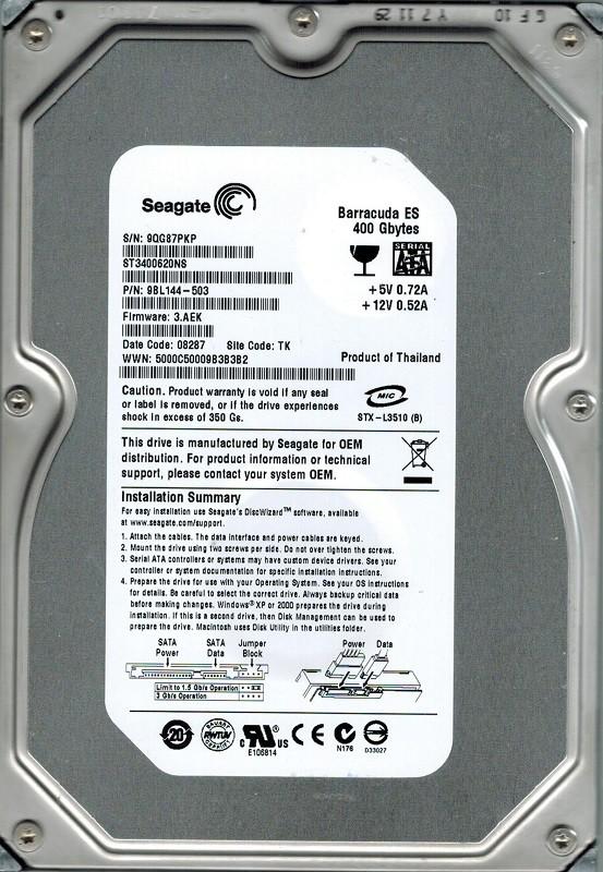 Seagate ST3400620NS P/N: 9BL144-503 F/W: 3.AEK 400GB TK