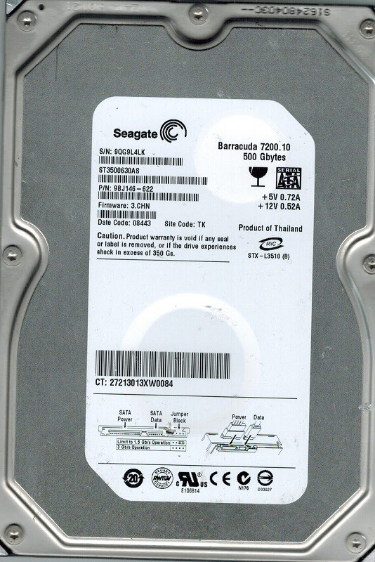 Seagate ST3500630AS P/N: 9BJ146-622 F/W: 3.CHN 500GB TK