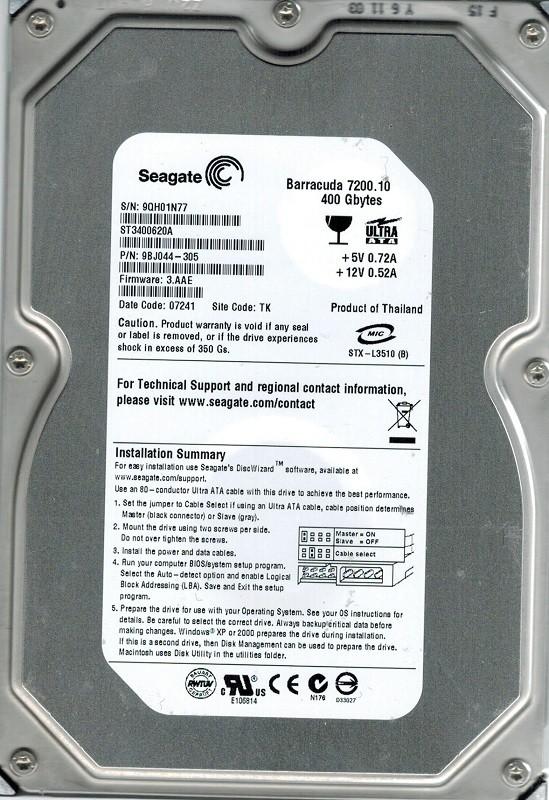 Seagate ST3400620A P/N: 9BJ044-305 F/W: 3.AAE 400GB TK