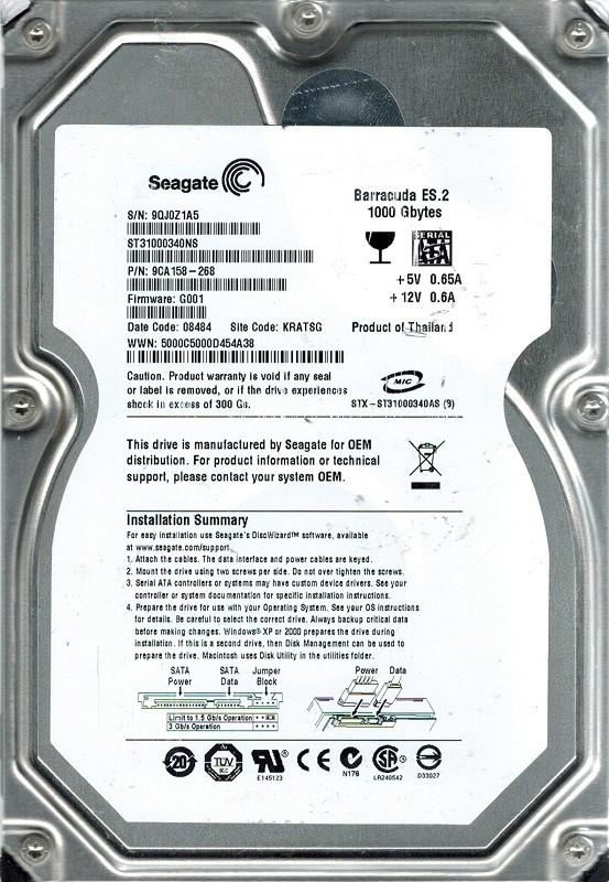 Seagate ST31000340NS P/N: 9CA158-268 F/W: G001 1TB KRATSG