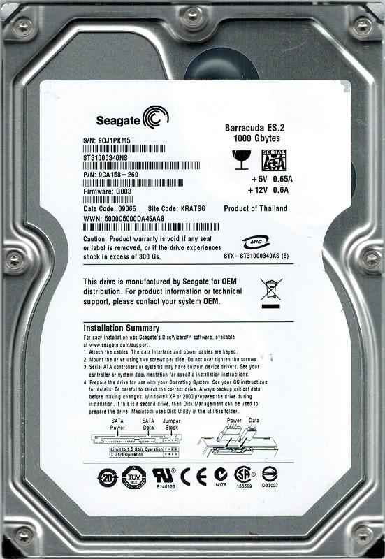 Seagate ST31000340NS P/N: 9CA158-269 1TB F/W: G003 KRATSG