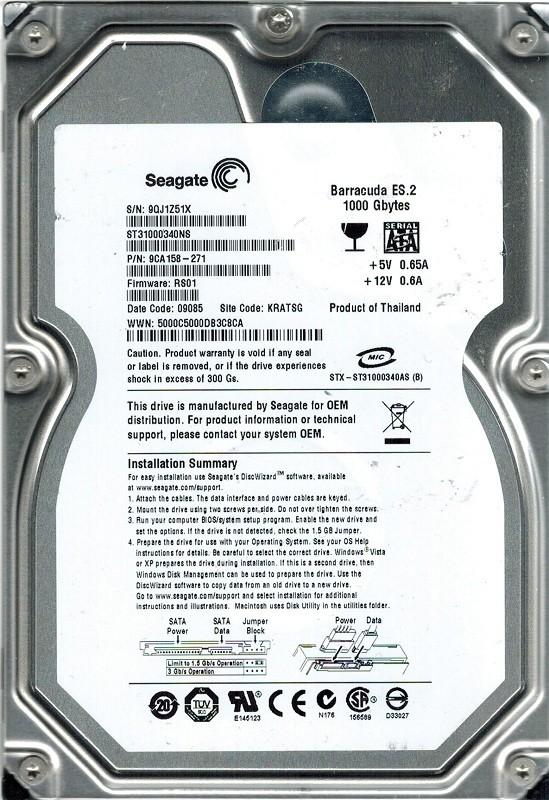 Seagate ST31000340NS F/W: RS01 P/N: 9CA158-271 1TB KRATSG
