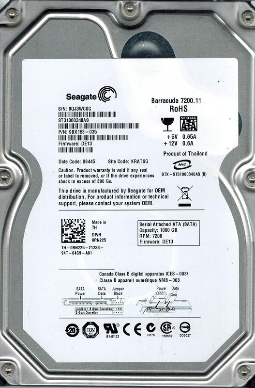 Seagate ST31000340AS F/W: DE13 P/N: 9BX158-035 1TB KRATSG
