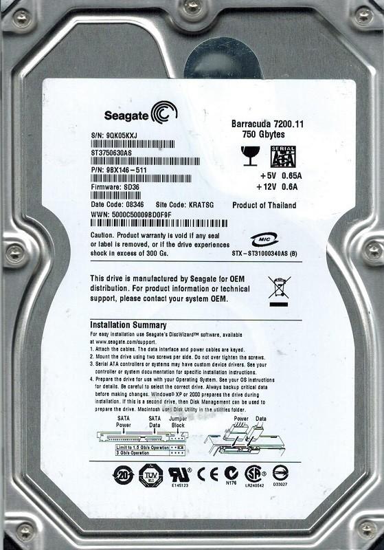 Seagate ST3750630AS P/N: 9BX146-511 F/W: SD36 750GB KRATSG