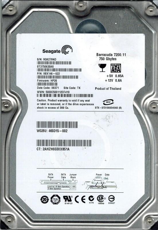 Seagate ST3750630AS P/N: 9BX146-622 F/W: HP26 750GB TK 9QK