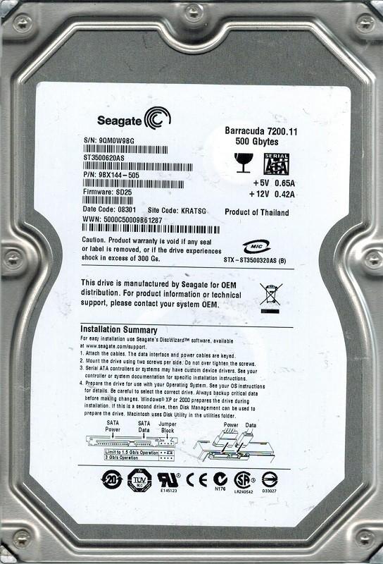 Seagate ST3500620AS P/N: 9BX144-505 F/W: SD25 500GB KRATSG