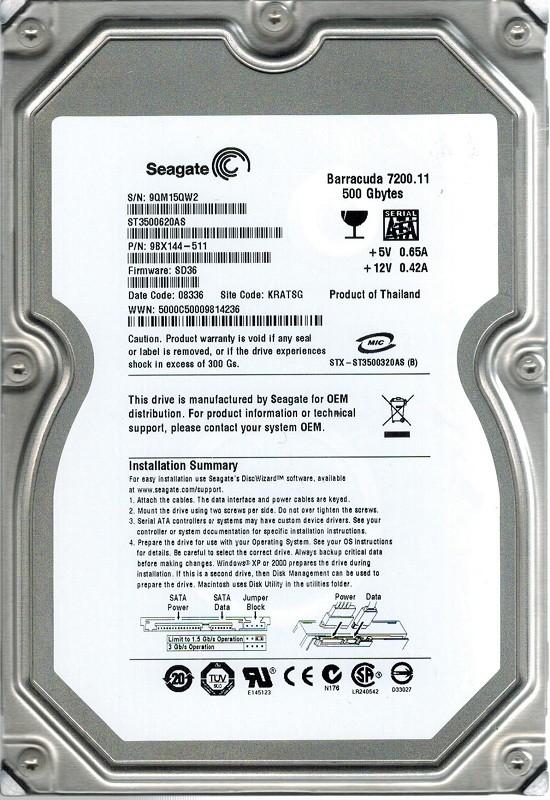 Seagate ST3500620AS 500GB P/N: 9BX144-511 F/W: SD36 KRATSG