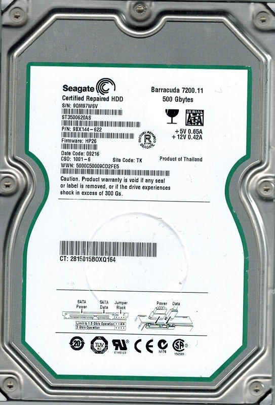 Seagate ST3500620AS P/N: 9BX144-622 F/W: HP26 TK 500GB