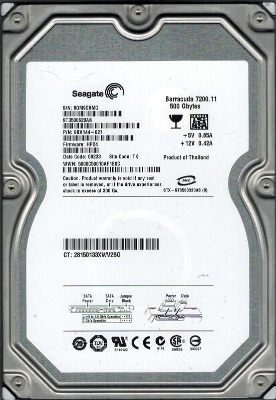 Seagate ST3500620AS P/N: 9BX144-621 F/W: HP24 500GB TK