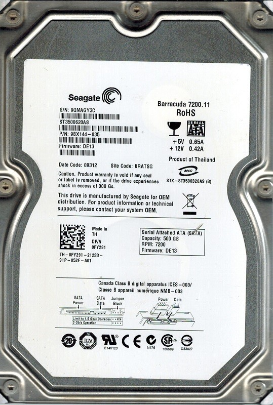 Seagate ST3500620AS P/N: 9BX144-035 F/W: DE13 KRATSG 500GB