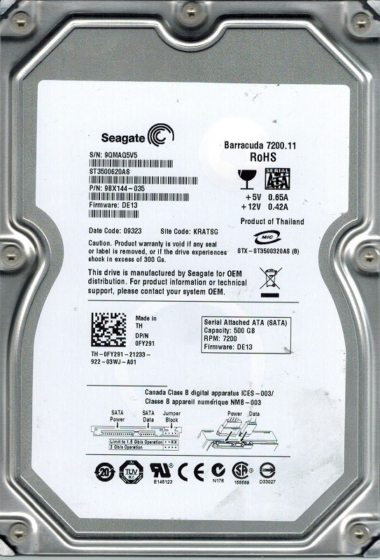 Seagate ST3500620AS P/N: 9BX144-035 F/W: DE13 500GB KRATSG